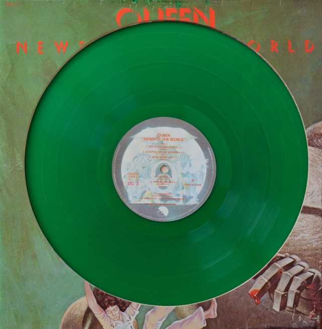 News Of The World - EMI DC-3 FRANCE (1977) ~ Green vinyl. Promo edition with die-cut sleeve