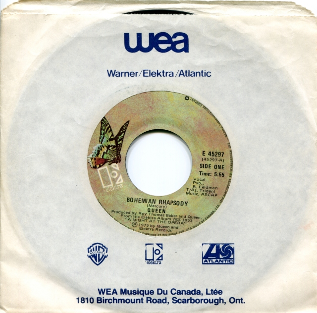 Bohemian Rhapsody / I'm In Love With My Car - ELEKTRA E 45297 CANADA (1975) ~ NO PS