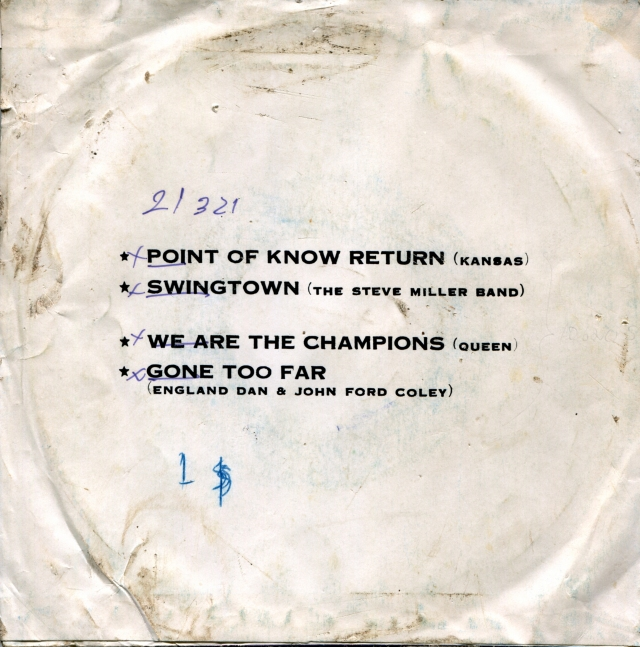 Point Of Know Return (Kansas) / Swingtown (The Steve Miller Band) / We Are The Champions (Queen) / Gone Too Far (England Dan & John Ford Coley) - Royalsound TKR 519 THAILAND (1977) - Back