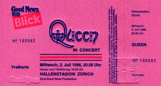 Queen Zurich 2 July 1986