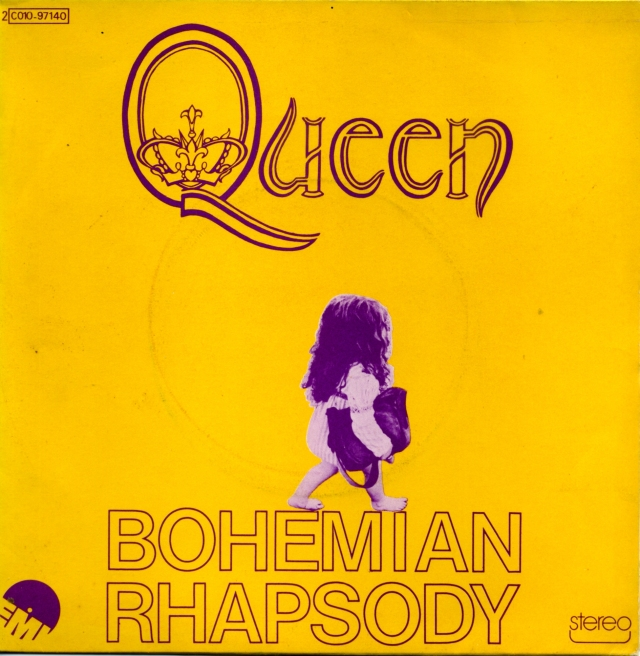 Bohemian Rhapsody / I'm In Love With My Car - EMI 2C 010-97140 FRANCE (1975) ~ Yellow cover with child