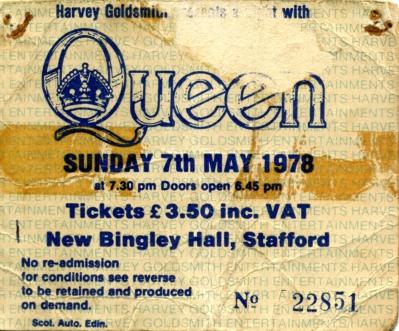 7th May 1978 Bingley Hall, Stafford, UK