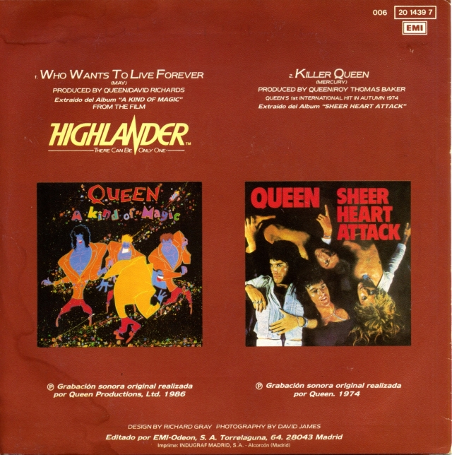 Who Wants To Live Forever / Killer Queen - EMI 006-2014397 SPAIN (1986) - Back