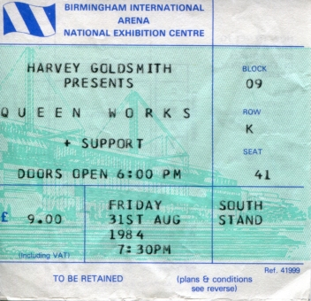 31st Augut 1984 (Birmingham Internation Arena, UK)