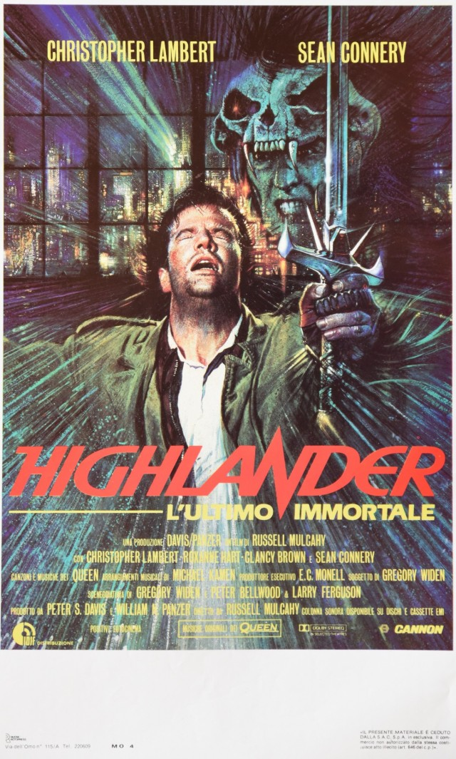 Highlander - L'ultimo immortale original Italian movie poster (1986) ~ Small version