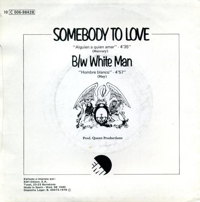 Somebody To Love Spain (promo) - Back