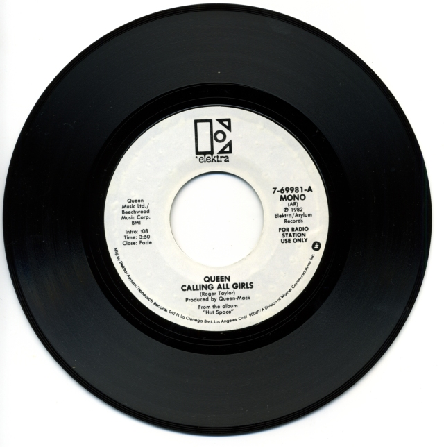 """Calling All Girls (Mono) / Calling All Girls (Stereo) - ELEKTRA 7-69981 USA (1982) ~ White label promo. """"For radio station use only"""" on label - Side A"""
