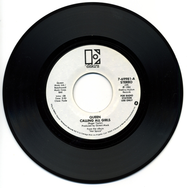 """Calling All Girls (Mono) / Calling All Girls (Stereo) - ELEKTRA 7-69981 USA (1982) ~ White label promo. """"For radio station use only"""" on label - Side B"""