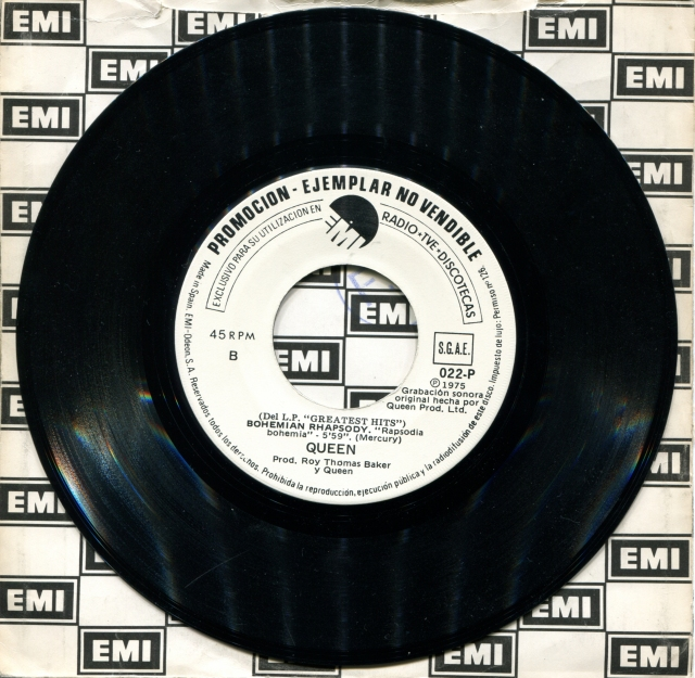 We Will Rock You / Bohemian Rhapsody - EMI 022-P SPAIN (1981) ~ No PS. Promotional copy. White label.