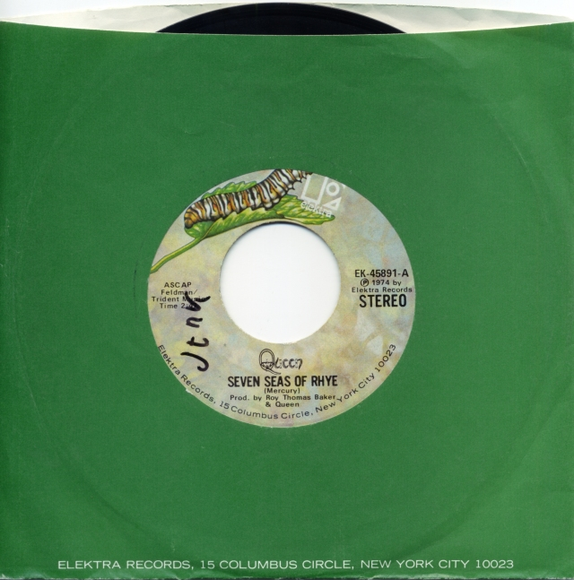 Seven Seas Of Rhye / See What A Fool I've Been - ELEKTRA EK-45891 USA (1974) ~ No PS. Caterpillar green Label