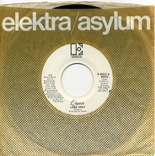 Long Away (mono) / Long Away (stereo) - ELEKTRA E-45412 USA (1977) ~ Radio station use only - No PS