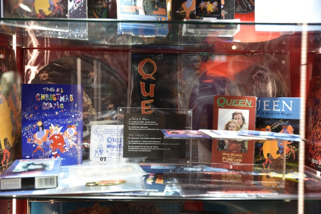 """A Kind Of Magic"" and ""The Miracle"" window display with Memorabilia, vinyls"