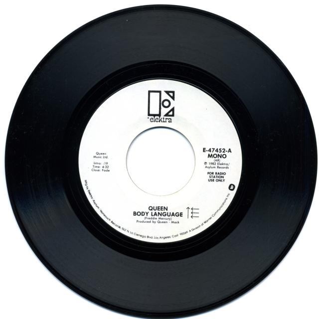 Body Language (mono) / Body Language (stereo) - ELEKTRA E-47452 USA (1982) ~ Radio station use only - White label. Version 1 - Side A