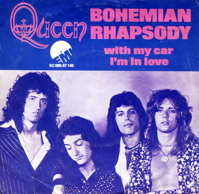 Bohemian Rhapsody / I'm In Love With My Car - EMI 5C 006-97140 HOLLAND (1975) ~ Purple cover and red titles (Front=Back). Standard label. Front