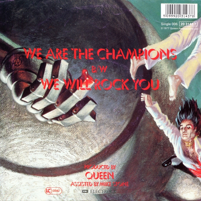 We Are The Champions / We Will Rock You - EMI 1C 006-60045 GERMANY (1988) ~ Second edition with barcode on back. Back