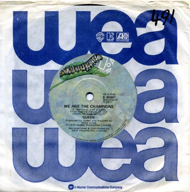 We Are The Champions / We Will Rock You - ELEKTRA E 45441 AUSTRALIA (1977) ~ No PS