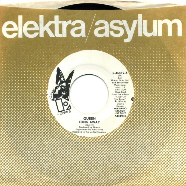 Long Away (mono) / Long Away (stereo) - ELEKTRA E-45412 USA (1977) ~ No PS.