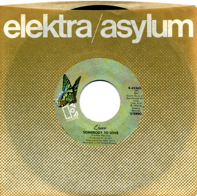 Somebody To Love / White Man - ELEKTRA E-45362 USA (1976) ~ No PS. Green butterfly Label