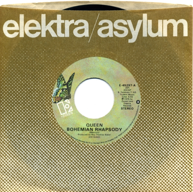 """Bohemian Rhapsody / I'm In Love With My Car - ELEKTRA E-45297 USA (1975) ~ No PS. """"Radio station use only"""". Green butterfly label. Version 2"""