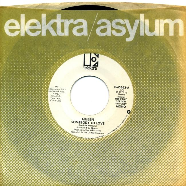Somebody To Love (mono) / Somebody To Love (stereo) - ELEKTRA E-45362 USA (1976) ~ Radio station use only - NO PS