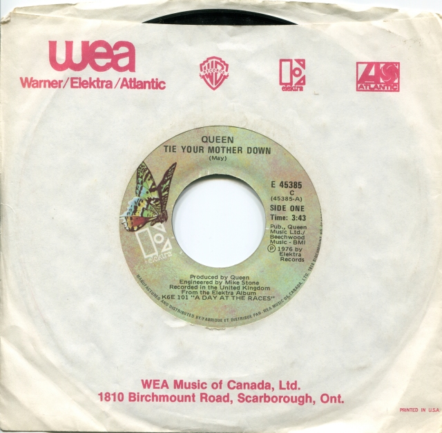 Tie Your Mother Down / Drowse - ELEKTRA E-45385 CANADA (1977) ~ No PS. Butterfly green Label