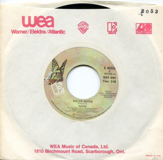 Killer Queen / Flick Of The Wrist - ELEKTRA E 45226 CANADA (1974) ~ Green Butterfly Label. No PS