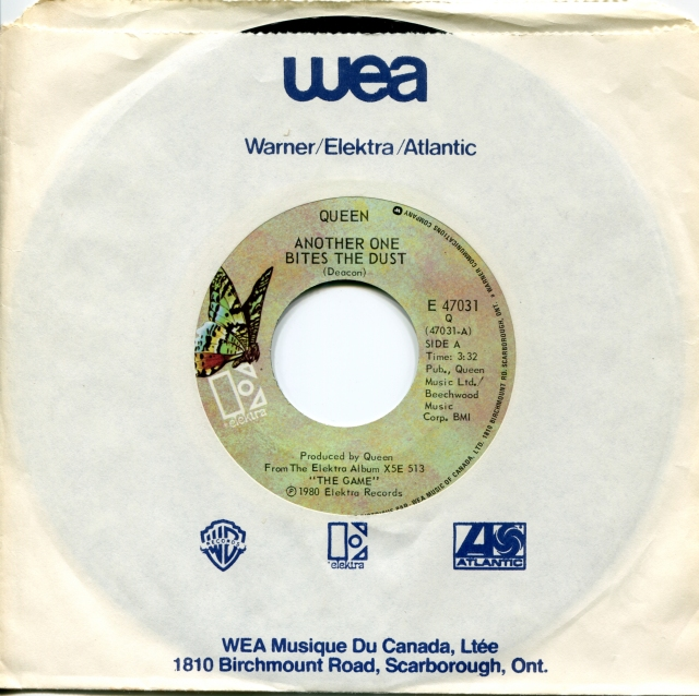 Another One Bites The Dust / Don't Try Suicide - ELEKTRA E 47031 CANADA (1980) ~ No PS. Green butterfly label